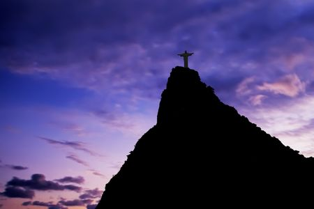 redeemer: Christ the Redeemer on Corcovado Mountain, Rio de Janeiro  Brazil South America  The statue stands 38 m (125 feet) tall and is located at the peak of the 710-m (2330-foot) Corcovado mountain in the Tijuca Forest National Park, overlooking the city. As wel