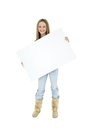 tween girl: Caucasian child holding a blank sign so you can add your own advertising slogan. She is on a white background.