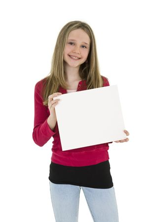 Caucasian child holding a blank sign so you can add your own advertising slogan. She is on a white background.