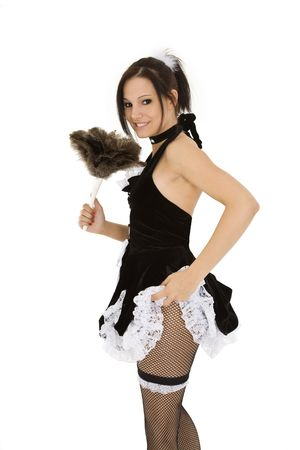role: Beautiful caucasian woman dressed in a French Maid costume
