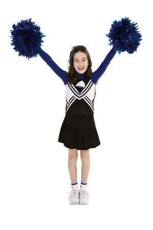 cheerleading: Ten year old caucasian girl dressed as cheerleader