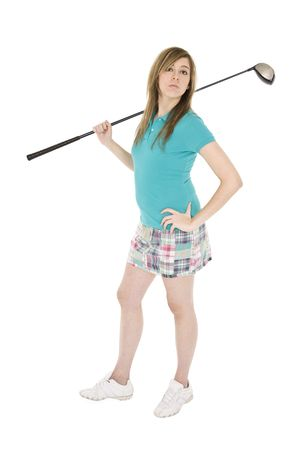 Caucasian teenager posing with golf club on white background photo