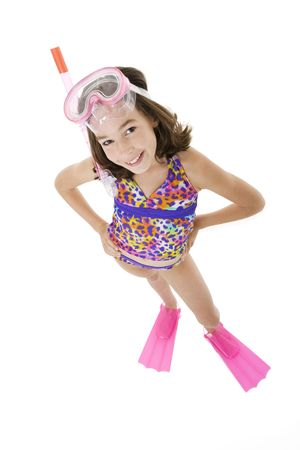 children at play: Caucasian child posing in a swimsuit standing on white background Stock Photo
