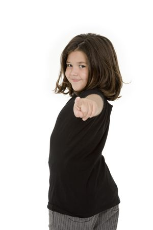 confrontational: Caucasian child pointing finger at camera on white background Stock Photo