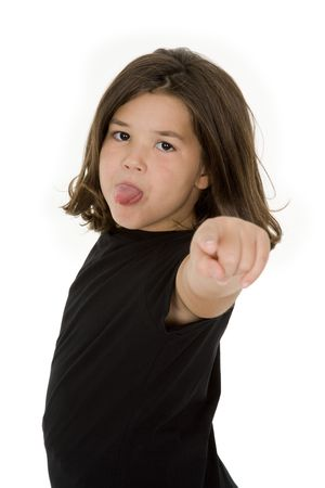 confrontational: Caucasian child showing some attitude on a white