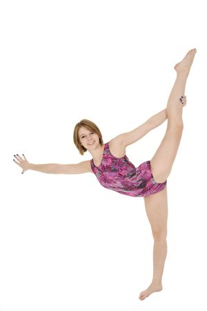 Caucasian teenage girl in gymnastic poses on white background Stock Photo - 3836053