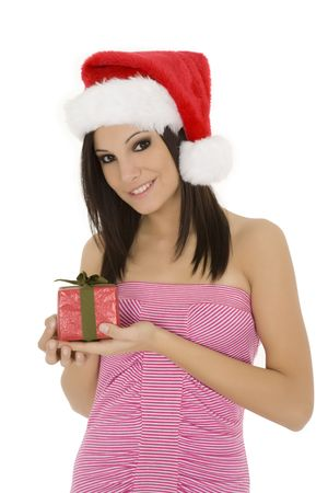 Beautiful Caucasain female holding gifts on white background photo