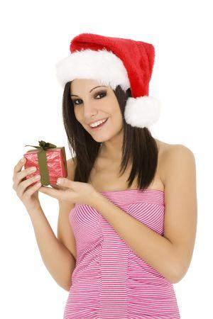Beautiful Caucasain female holding gifts on white background Stock Photo - 3836063
