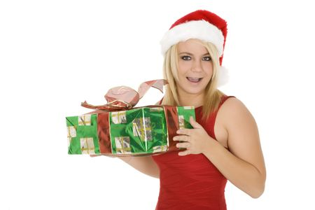 Beautiful Caucasain female holding gifts on white background Stock Photo - 3836058