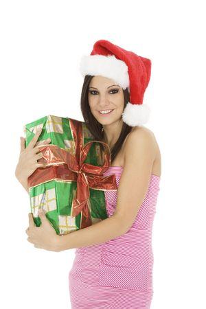 Beautiful Caucasain female holding gifts on white background Stock Photo - 3856165