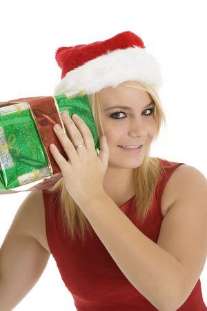Beautiful Caucasain female holding gifts on white background Stock Photo - 3856166