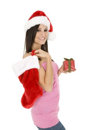 Beautiful Caucasain female holding gifts on white background photo