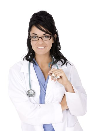 Caucasian woman doctor with stethoscope on white background photo