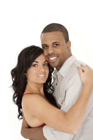 interracial marriage: Interrazziale matura intimo momento di condivisione e Archivio Fotografico