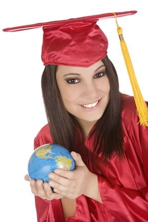 Beautiful Caucasian student with he world in the palm of her hand Stock Photo - 4157263
