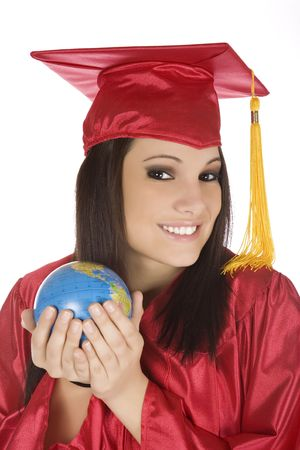 Beautiful Caucasian student with he world in the palm of her hand Stock Photo - 4157264