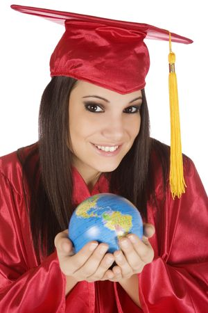 Beautiful Caucasian student with he world in the palm of her hand Stock Photo - 4157265