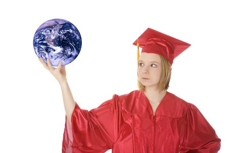 Beautiful Caucasian teenager in a graduation gown holding the world Stock Photo - 4157555