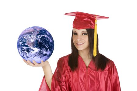 Beautiful Caucasian teenager in a graduation gown holding the world Stock Photo - 4157554