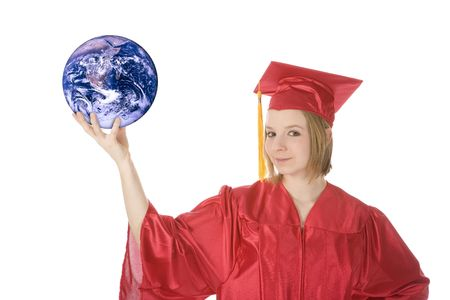 Beautiful Caucasian teenager in a graduation gown holding the world Stock Photo - 4175278