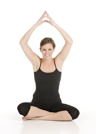 Beautiful Caucasian woman practicing yoga on a white background Stock Photo - 4340056