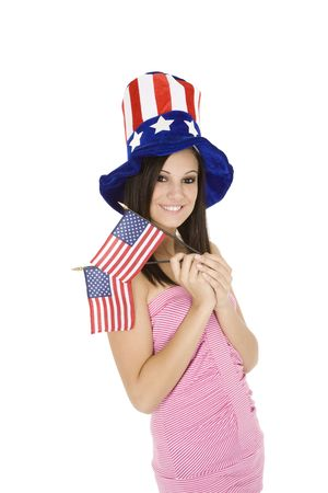 Beautiful Caucasian woman celibrating the 4th of July photo