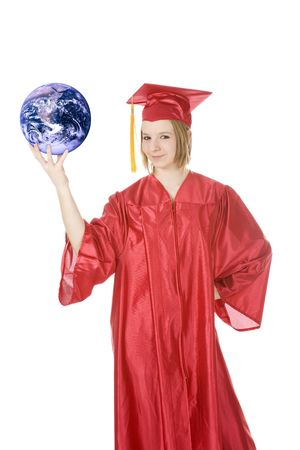 Beautiful Caucasian teenager in a graduation gown holding the world Stock Photo - 4369776