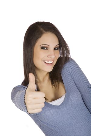 Beautiful Caucasian woman giving the thumbs up on a white background photo
