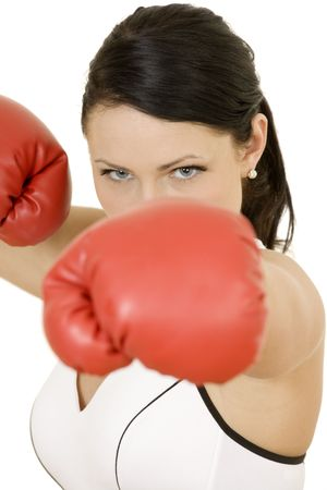 female boxer: Beautiful Caucasian woman working out with boxing gloves
