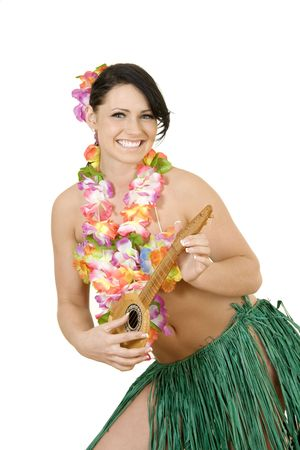 Caucasian woman pretending to be a Hula Dancer photo
