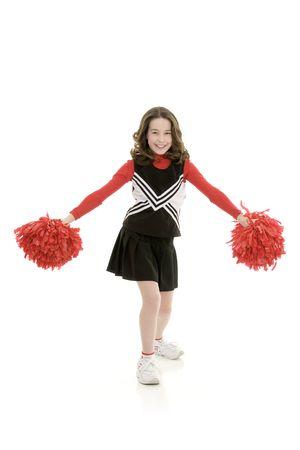Ten year old caucasian girl dressed as cheerleader photo