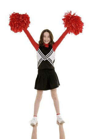 Ten year old caucasian girl dressed as cheerleader photo