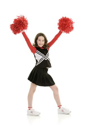 Ten year old caucasian girl dressed as cheerleader