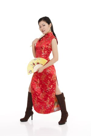 Beautiful Chinese woman in traditional Chinese clothing photo