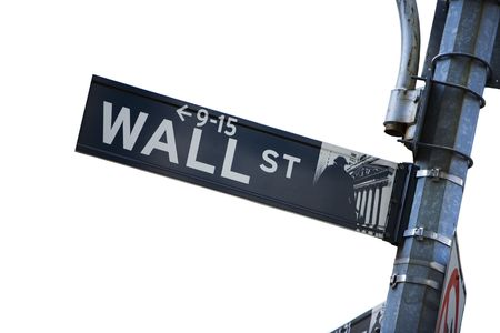 stocks and shares: Wall street sign