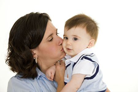 Beautiful Caucasian mother and baby boy  bonding Stock Photo - 5012417