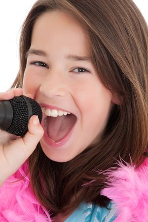 Caucasian children singing karaoke on a white background Stock Photo