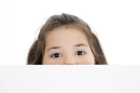 farward: Cute Caucasian girl holding a blank sign Stock Photo