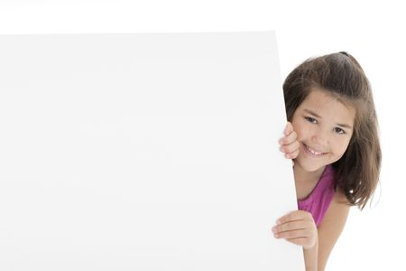 peeping: Cute Caucasian girl holding a blank sign Stock Photo