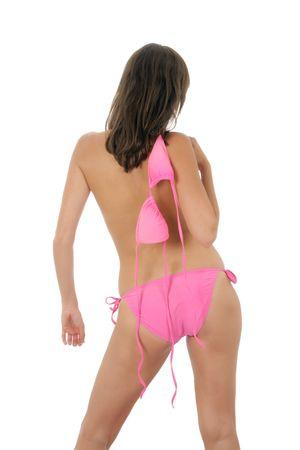ni�as en bikini: Una mujer blanca muy sexy weraing un bikini rosa y un sombrero