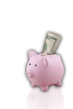Pink Piggy Bank isolated on white background and has a 20 dollar bill sticking out photo