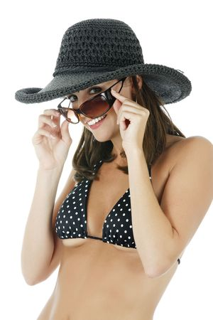 A very sexy Caucasian woman weraing a black  bikini and a hat isolated on white photo