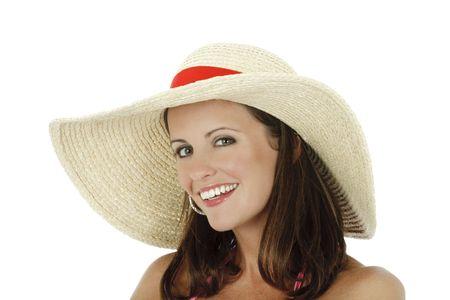A very sexy Caucasian woman weraing a pink bikini and a hat photo