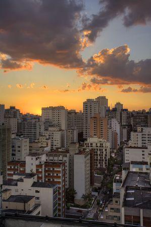 Twilight in the city of Sao Paulo Brazil  photo