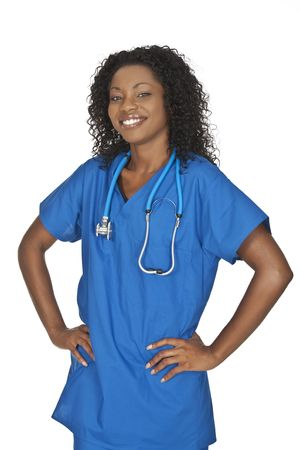 Beautiful African American doctor or nurse on a white background photo