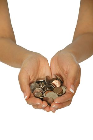 silver coins: Female hands holding a hand full of coins on white background