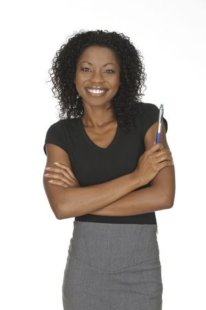 A beautiful and confident African American businesswoman on white background Stock Photo - 5619349