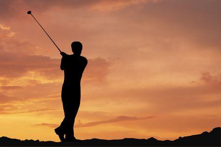 off course: Male playing golf af dawn
