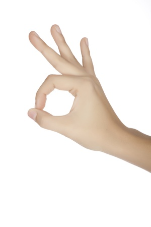 alright: Caucasian female using hand gestures to say ok Stock Photo