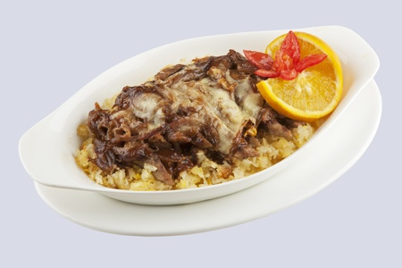 severed: Beef and rice severed covered with a delicious sauce with a clipping path Stock Photo